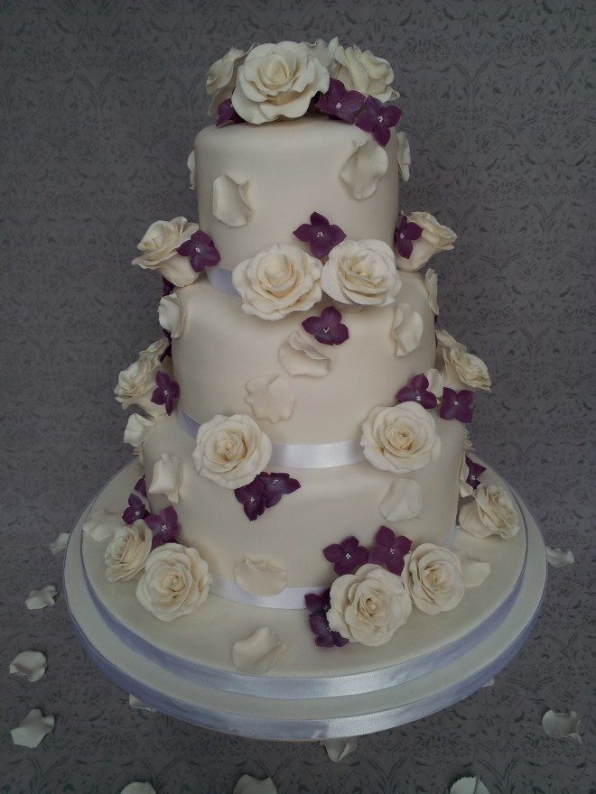 Ivory and Purple 3 Tier Wedding Cake