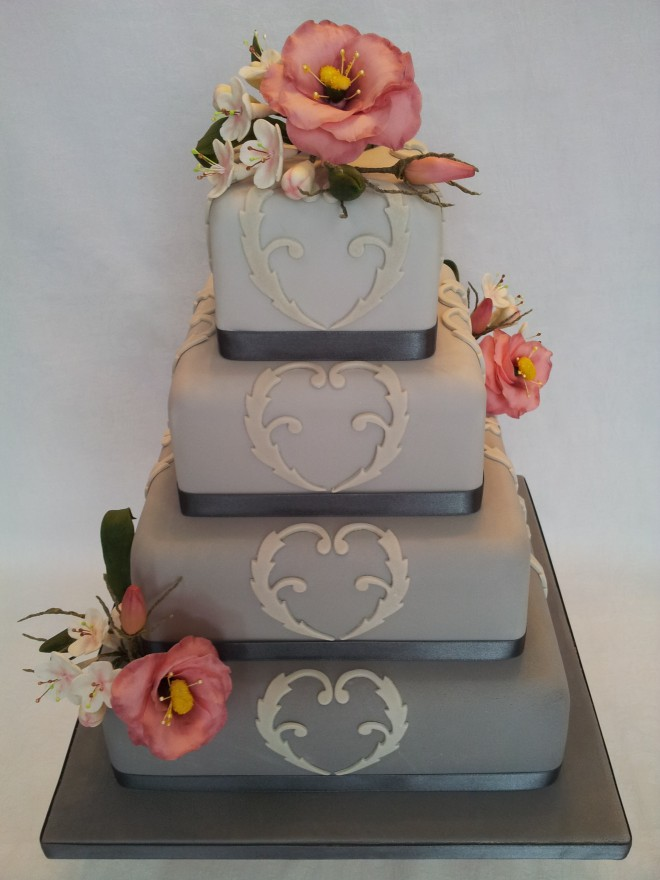 Grey Tones with Blush Flowers 4 Tier Wedding Cake