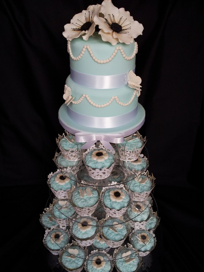 Mint Vintage 2 Tier Wedding Cake with Cupcake Tower