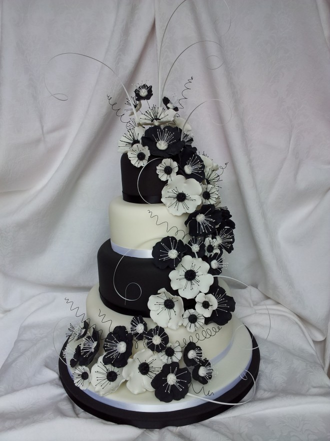 White and Black with Trailing Flowers 4 Tier Wedding Cake
