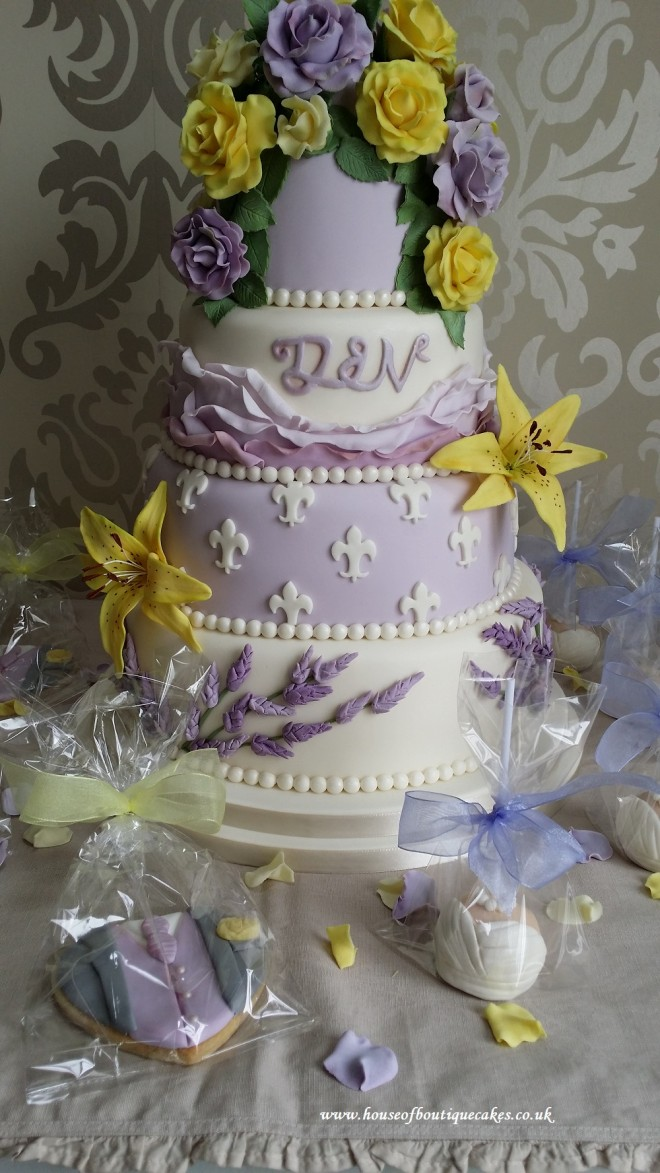 Vintage Lilac and Lemon Storey 4 Tier Wedding Cake