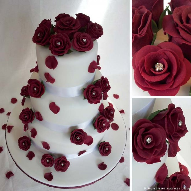 White and Burgandy with Falling Roses 3 Tier Wedding Cake