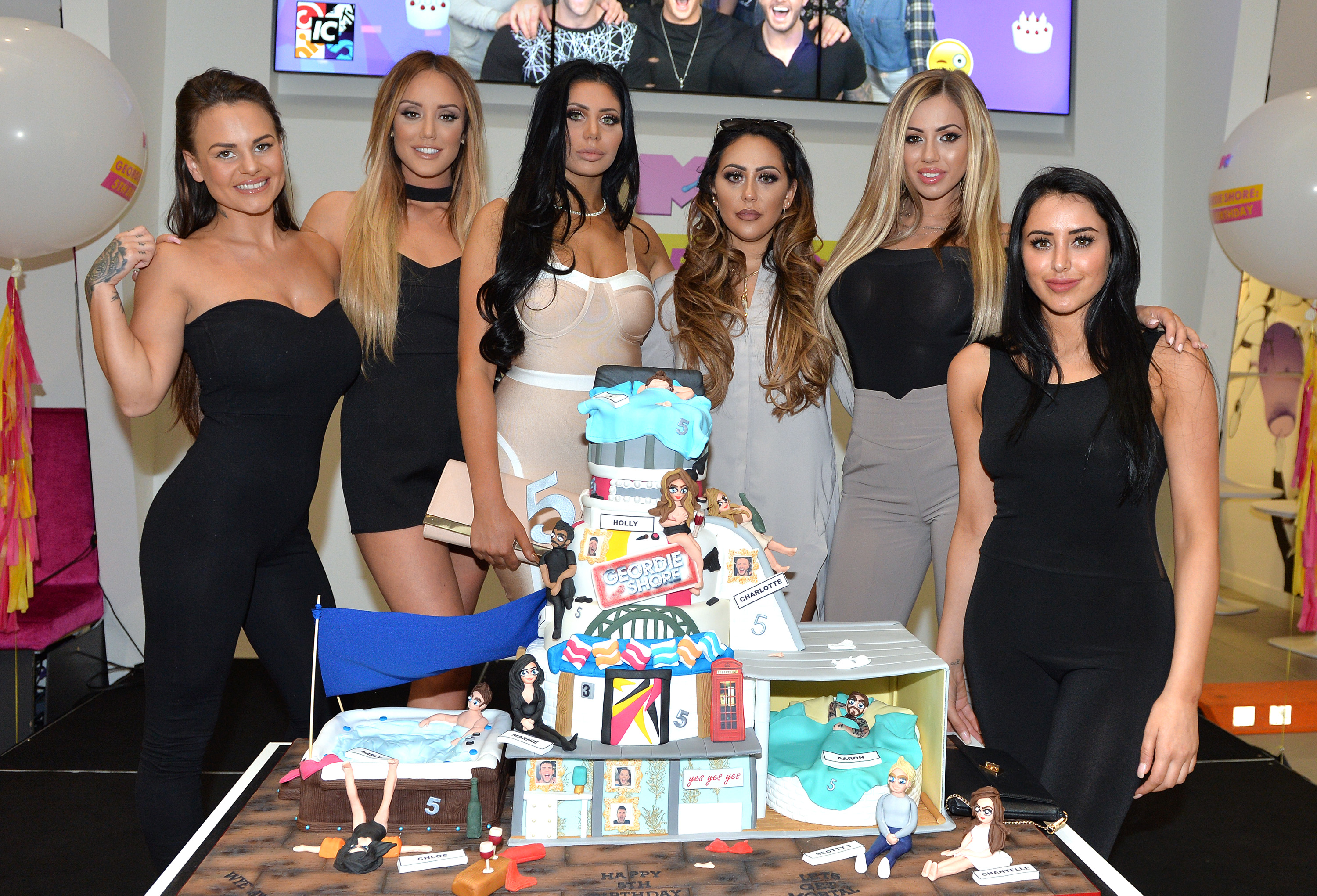 LONDON, ENGLAND - MAY 24: Charlotte Crosby, Holly Hagan, Chloe Etherington, Chantelle Connelly, Marnie Simpson and Sophie Kasaei of Geordie Shore celebrate their fifth birthday at MTV London on May 24, 2016 in London, England. (Photo by Anthony Harvey/Getty Images) *** Local Caption *** Charlotte Crosby; Holly Hagan; Chloe Etherington; Chantelle Connelly; Marnie Simpson; Sophie Kasaei